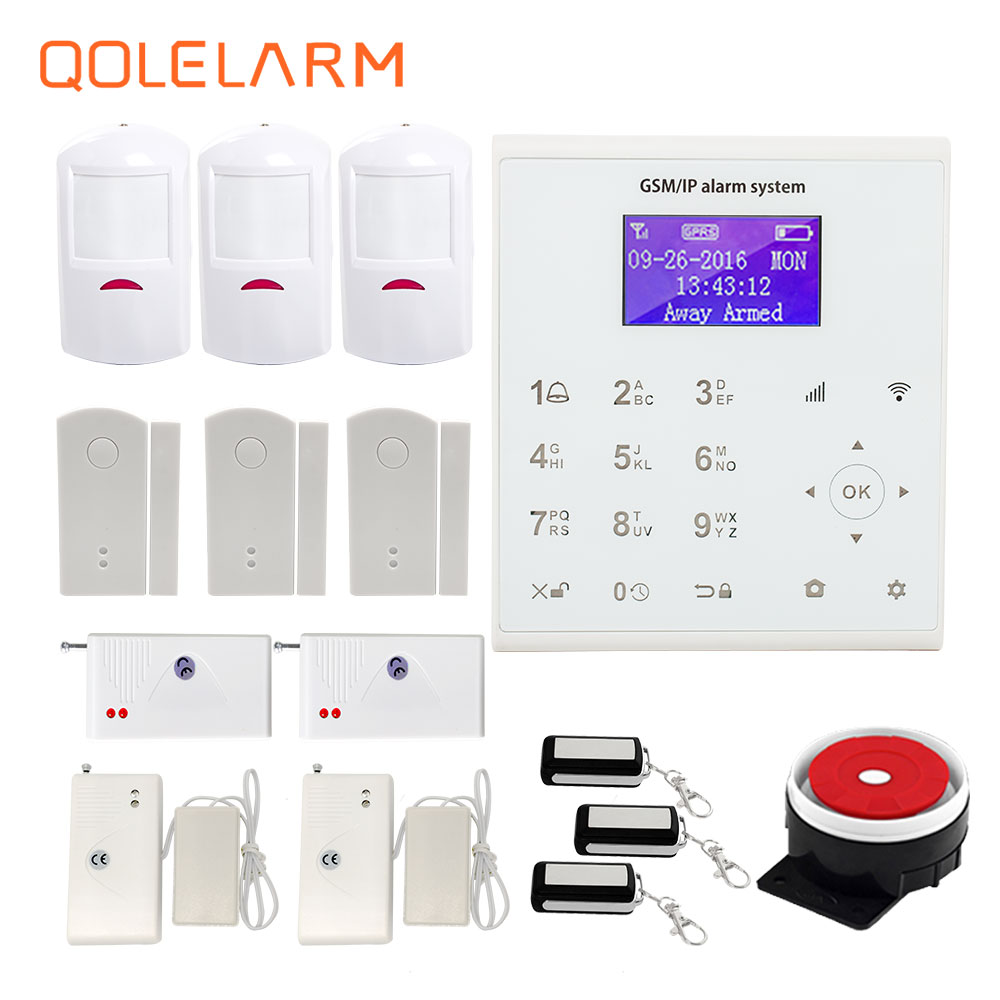 QOLELARM Spanish/French/Danish/Polish WIFI GSM Home Alarm System House Security with ip camera and Infrared Sensor wifi internet gsm gprs sms oled pet immune home alarm system security kit hd ip camera gsm alarm sytem with spanish french