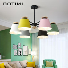 BOTIMI Ceiling Hanging Chandelier Lighting For Living Room LED Chandeliers Wooden Lustre Wood Dining Lamp Black Metal Lustres(China)