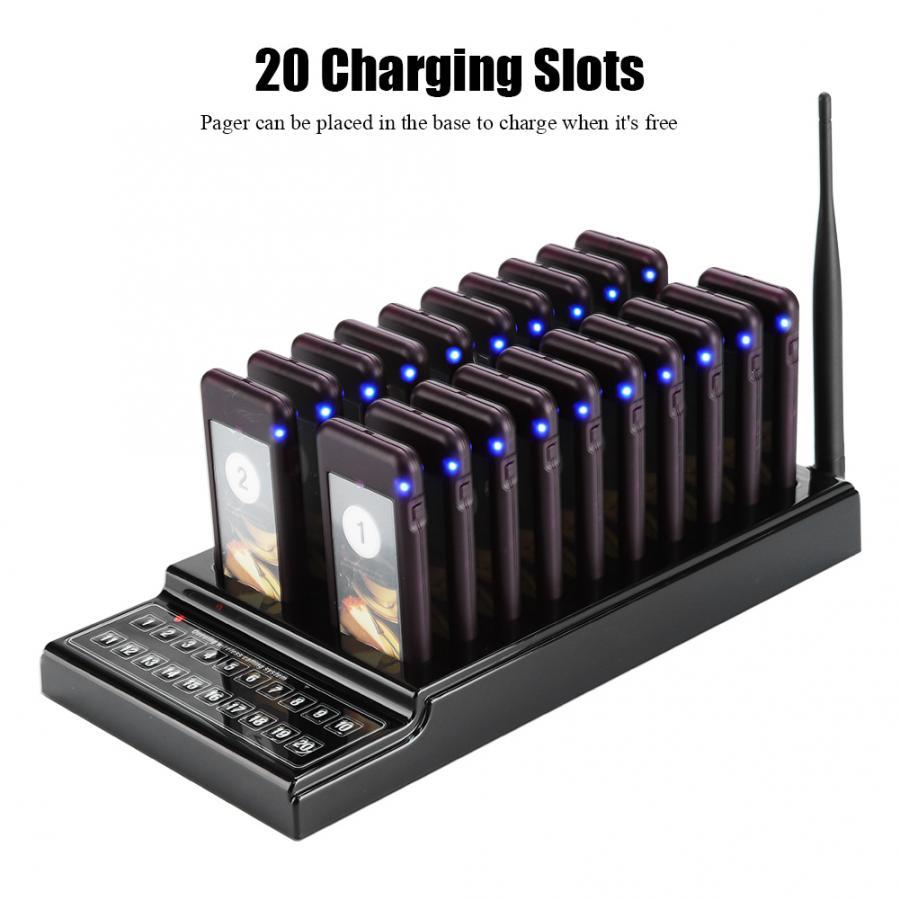 Système d'appel de serveur de téléavertisseur de Restaurant de 20 canaux 107dBm système d'appel de file d'attente sans fil de haute sensibilité