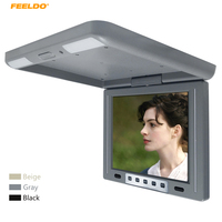 FEELDO 12 Car Bus TFT LCD Roof Mounted Monitor 12 Flip Down Monitor 2 Way Video Input 12V with IR Transmitter 3 Color