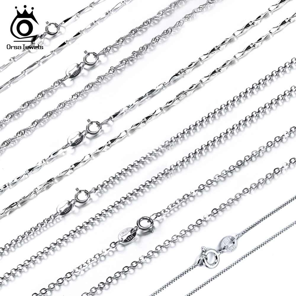 ORSA JEWELS Genuine 925 Sterling Silver Necklace Chain Fashion Spring Clasps Adjustable Necklace Chains Lead & Nickel Free 01