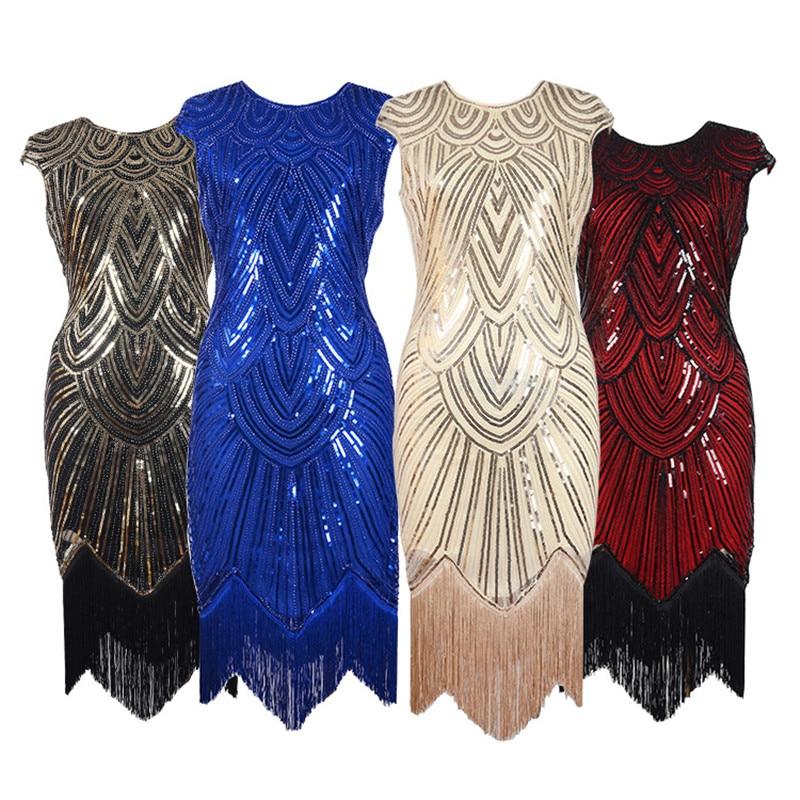 Vintage 1920s Sequin Fringe Dress Women Lady Charleston Dress Great Gatsby Sexy Party Club Dresses Tassel Bling Bling Vestido