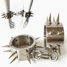SM Toy Punk Stainless Steel Handcuffs for Sex Bondage Fetish Double Row Rivets Handcuffs Slave Sex Toys for Couples G32