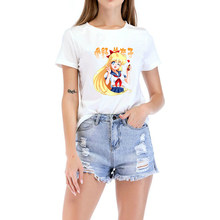 9 Sailor Moon T Shirt 2019 Summer Girl Tops Japanese Anime Sailor Moon Funny Tshirts Short Sleeved Cotton White Oversize T-shirt(China)