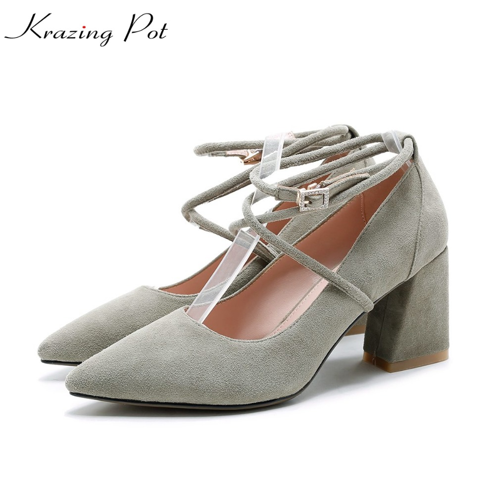 Krazing Pot sheep kid suede brand shoes thick high heel women pumps pointed toe shallow career office lady women model shoes L06 2017 new fashion brand spring shoes large size crystal pointed toe kid suede thick heel women pumps party sweet office lady shoe
