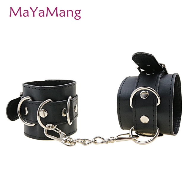 Adult Games Black Leather Handcuffs Wrist Restraints Sex Toys Sexy Costumes Cosplay Slave Hand Cuffs For Erotic Women Couples