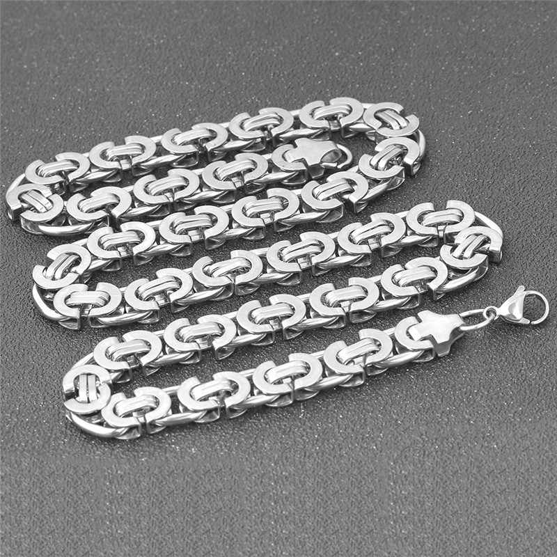 ZORCVENS New Fashion 10mm wide Men Punk Rock Necklace Stianless Steel silver Color chain necklace for Men