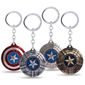 2016 New Design Rotatable The Avengers Movie Captain America KeyChain Shield Bronze Red Black Silver Keyring Key Chain for Fans