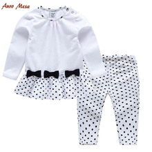 100%Cotton Toddler Girl Clothing Black Bow-knot Dot Top +Pant Kids Clothes Suits