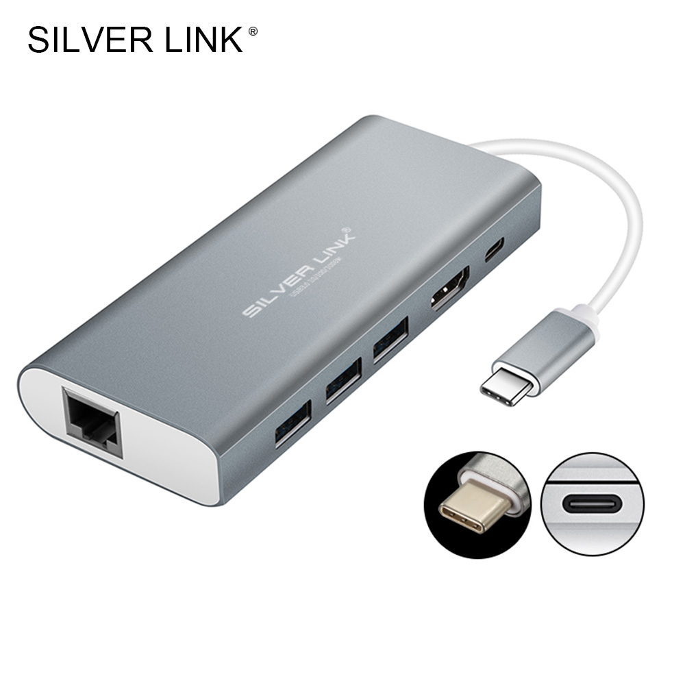 SILVER LINK Type C Converter Type-C Cable Adapter To USB 3.0 HDMI HUB SD Card Reader RJ45 Network Line 1000M 4K HD Video Output hanrun hr911105a diy rj45 network adapters w indicator light silver black 5 pcs