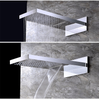 Chrome Rain Waterfall Shower Head Brass Showerhead Wall Mount 2 Function Water Outlet Shower Replace Head Faucet Accessory