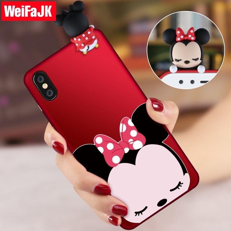 WeiFaJK 3D Cute Cartoon Casse Del Telefono per il iphone X 8 7 Più la Cassa molle Del Silicone Opaco Cover per iPhone 7 6 6 s Più 8 Più la Cassa borsa