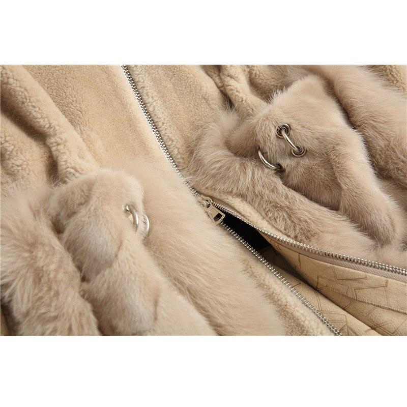 De Hiver Poche Maylooks Nouveau 18108 Fourrure Cheveux vert Manteau Chapeau camel Renard Laine Femmes Vison Longue Automne Beige pR18qRxw