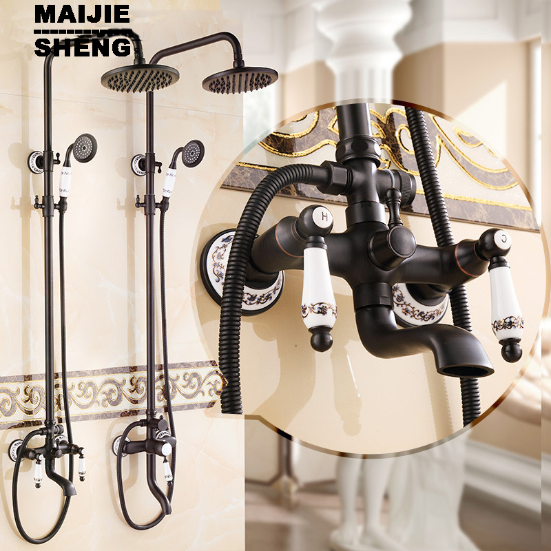 Bath & Shower Faucet With Slide Bar With Hand Shower Euro Style Oil Rubbed Black Bronze Finish Dual Handle Brass sognare new wall mounted bathroom bath shower faucet with handheld shower head chrome finish shower faucet set mixer tap d5205
