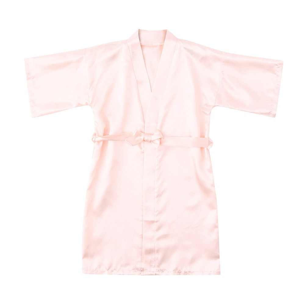 ARLONEET bebé niño niños niñas seda de color liso bata kimono de satén Albornoz ropa de dormir ropa Rebeca delgada bata Albornoz 19Jan04