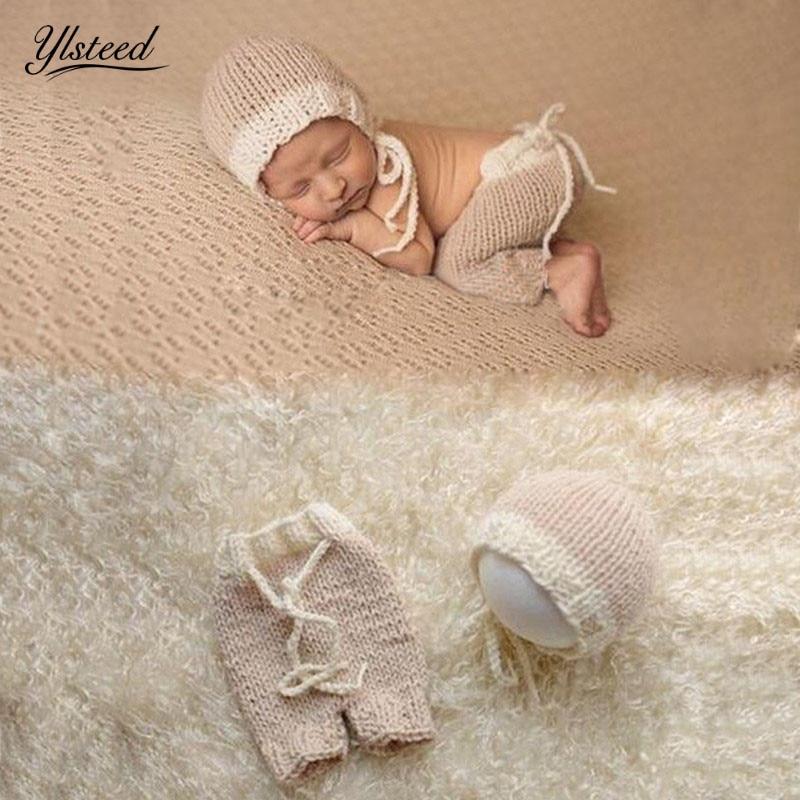 2pcs Baby Newborn Knit Ear Long Bear Hat Tail+Pants Photo Photography Props