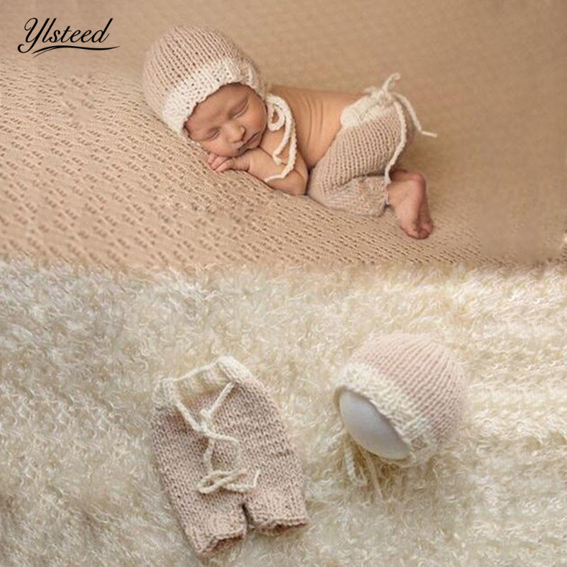Crochet newborn costume infant photography accessories baby hats pants set baby boy photo props newborn photography props цена
