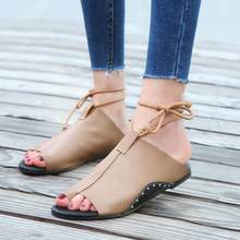 03b875e1ddb (Ship from US) Vintage Leather Sandals Women Flat-Bottomed Ankle Roman  Gladiator Female Casual Sandalias Round Toe Ankle Straps Slippers Shoes