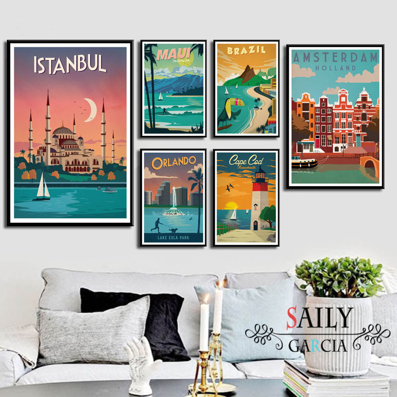 Canvas Art Posters Painting Wall-Art-Picture London Travel Vintage Hd Print New York