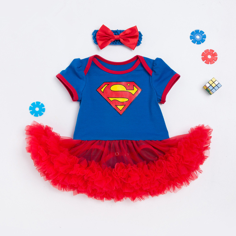 Baby Girls Cosplay Superman Costumes Romper  Superhero Jumpsuit For Toddler Infant Kids Girl Outfit Birthday Party Gift