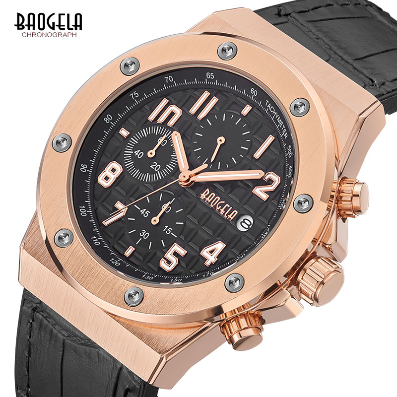 BAOGELA Men's Chronograph Quartz Watches 2019 New Waterproof Sports Casual Wrist Watch Man Leather Strap Clock 1805 Rose black-in Quartz Watches from Watches