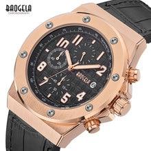 BAOGELA Mens Chronograph Quartz Watches 2019 New Waterproof Sports Casual Wrist Watch Man Leather Strap Clock 1805 Rose black