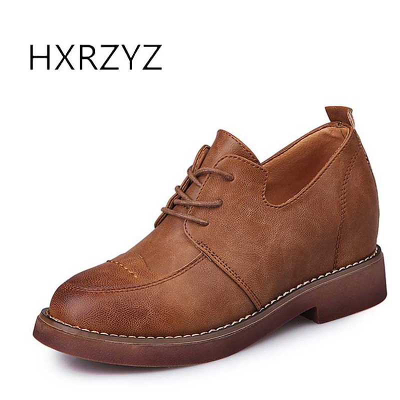 HXRZYZ women flat shoes leather lace-up casual shoes  spring/autumn new female vintage style round toe comfortable women shoes front lace up casual ankle boots autumn vintage brown new booties flat genuine leather suede shoes round toe fall female fashion