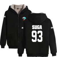 Bangtan Boys Kpop Winter Casual BTS Hoodies Clothes Zipper Hoodie Men Women Thick Warm Sweatshirt Plus