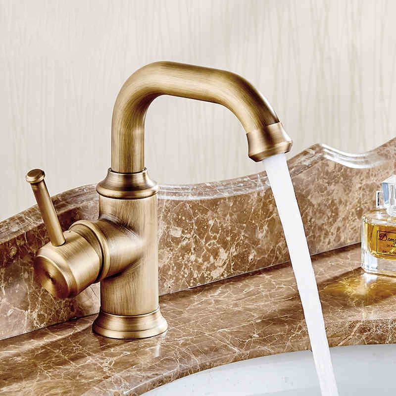 and Cold Water Mixer Tap Antique Brass Deck Mounted Bathroom Sink Taps ...