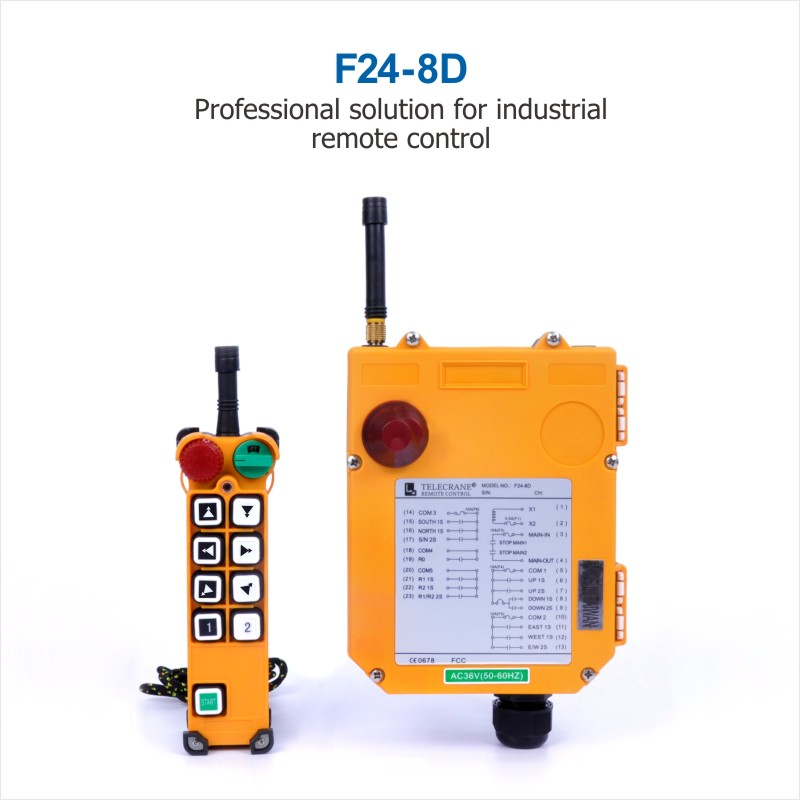 Wholesales Industrial TELEcrane Wireless Radio Remote Control F24-8D Crane Controller 1 Transmitter 1 Receiver for Hoist Crane nice uting ce fcc industrial wireless radio double speed f21 4d remote control 1 transmitter 1 receiver for crane