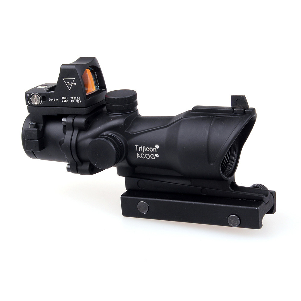 Tactical 4x32 with Lron Sights 20mm Weaver Picatinny Rail Mounts Hunting Rifle Scope w/RMR Red Dot