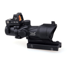 Tactical Trijicon ACOG 4×32 con Miras de Hierro 20mm Tejedor de Picatinny Rail Mounts Caza Rifle Scope w/RMR Red Dot