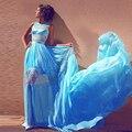 2017 Nueva Moda Abendkleider Sky Blue Gasa Vestido de Noche Formal Sheer Sexy Prom Vestidos Apliques Con Cuentas Vestidos Para Ocasiones Especiales