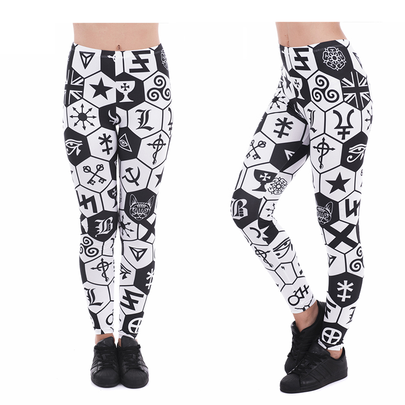 Black Sign White Women Leggings High Elasticity Fitness Leggins Breathable Perspiration Quick Drying GYM Sport Trouser Pants