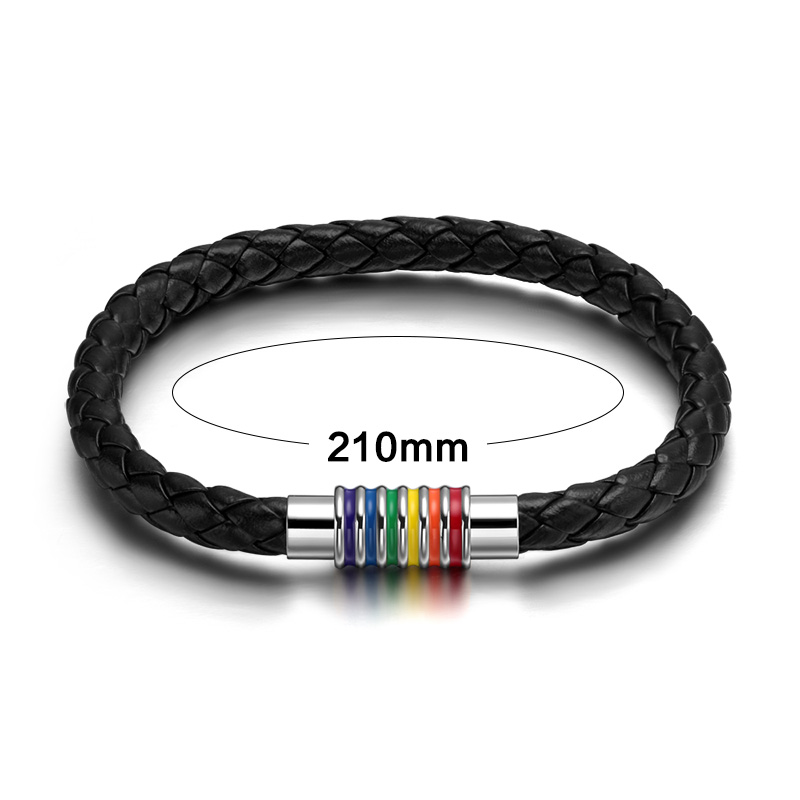 Braided Gay Pride Leather Bracelets Bangles Magnet Sale Limited Rainbow Jewelry With Magnetic Clasp