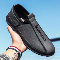 Men Fashion Leather Casual Shoes Male Black Footwear Soft Rubber Loafers Red For Men Flats Designer Men Boat Driving Shoes