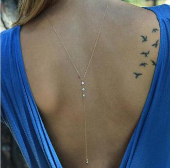 LUMPER Simple chain back pendant necklace jewelry charms crystal long necklace women collares necklaces pendants Bride's gift 07 2