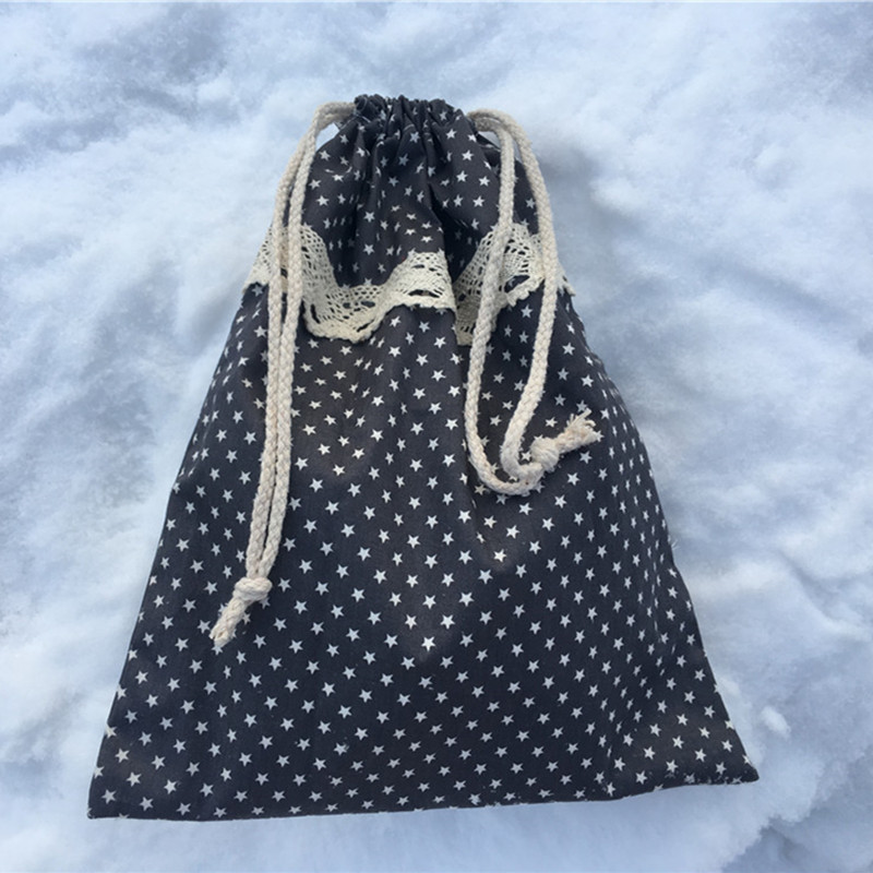 YILE 1pc Cotton Drawstring Pouch Party Favor Multi-purpose Bag White Star Grey 8129c