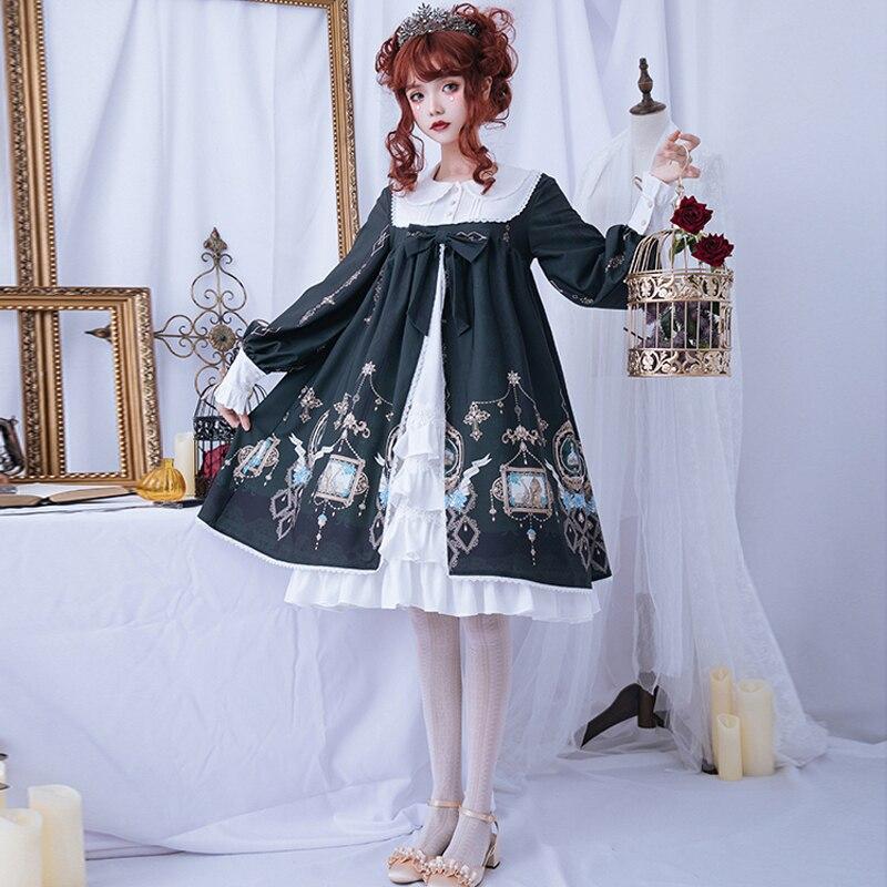 Robe Lolita OP douce en mousseline de soie manches longues robe Lolita originale Kawaii japonaise Lolita Cosplay robe