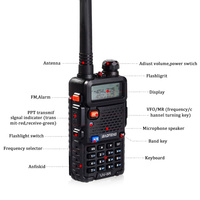 "uv 5r שתי דרך רדיו כף יד ציד VHF & UHF 5W המקצועיים Band Dual מכשיר קשר UV-5R Baofeng המקורי מקמ""ש HF (2)"