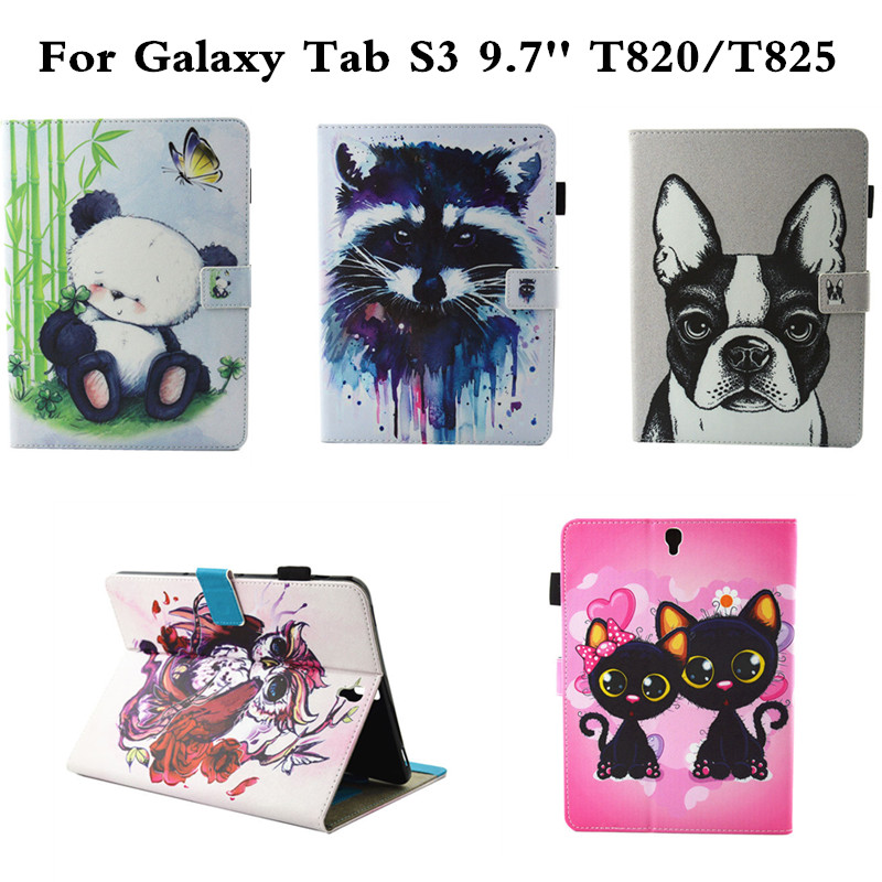 Cute Dog Panda Wallet case For Samsung Galaxy Tab S3 9.7 Stand PU Leather case for Tab S3 T820 T825 Tablet Protective cover new fashion tab s3 9 7 tablet case pu leather flip cover for samsung galaxy tab s3 9 7 inch t820 t825 cute stand cover 6 colors