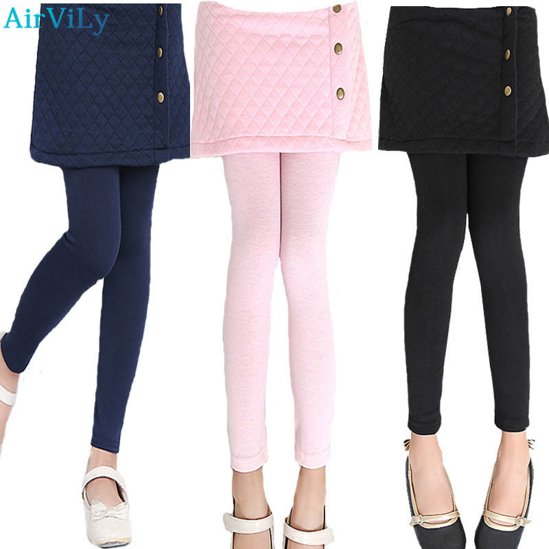 Baby Girls Leggings 2017 New Autumn Children Cake Skirts Pants Child Slim Kids Warm Culottes Solid Casual Trousers Full Clothes children s clothes girls autumn cotton pants kids casual jeans leggings blue color female child star hole trousers pencil pants