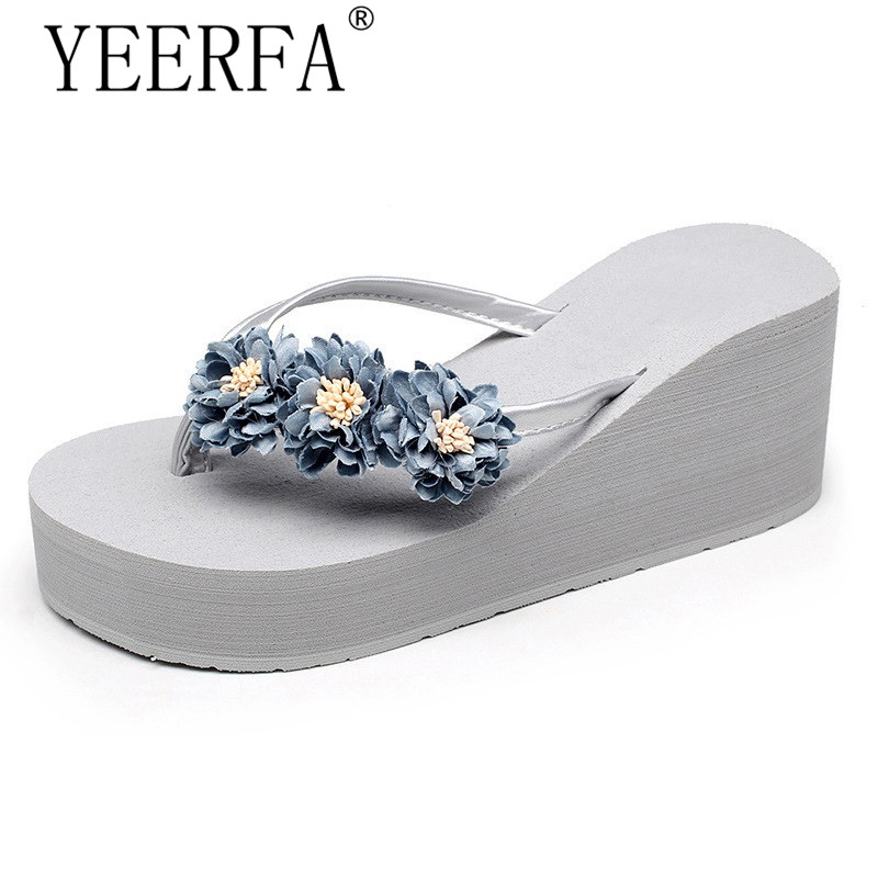 YIERFA Beach Flowers Flip Flops 2017 New Wedges Sandals Casual Platform Shoes Woman Slip On Creepers Flats Slippers SIZE 35-40