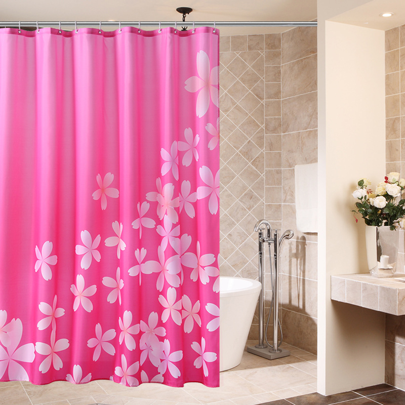 Pink Cherry Blossom Bath Decoration Shower Curtain Polyester Waterproof Bathroom Curtain Partition (Matching Hook)
