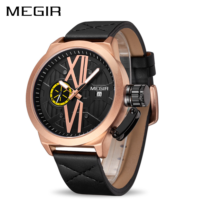 MEGIR Quartz Men Watch Relogio Masculino Top Brand Luxury Leather Sport Wrist Watches Clock Men Army Military Wristwatches 1078 geneva watches men 2017 binger fashion brand quartz clock army military sport watch digital wristwatches relogio masculino
