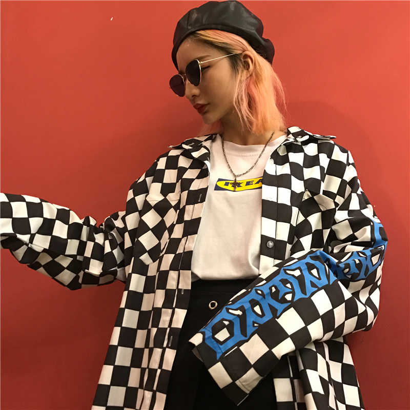 Koreaanse Streetwear Brief Grafische Dambord Plaid Fire Print Losse Lange Mouwen Blouse Harajuku Hiphop Top Shirt Punk Vrouwen/Mannen