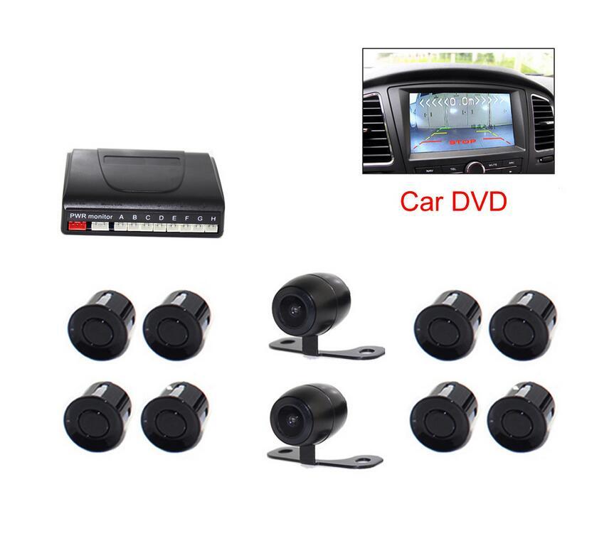 imágenes para Vehículo De DVD Del Coche Sistema de Radar de Copia de seguridad del Sensor de Aparcamiento Visible ayuda Auto 8 Sensores con Cámara Frontal vista Posterior 2 cámaras