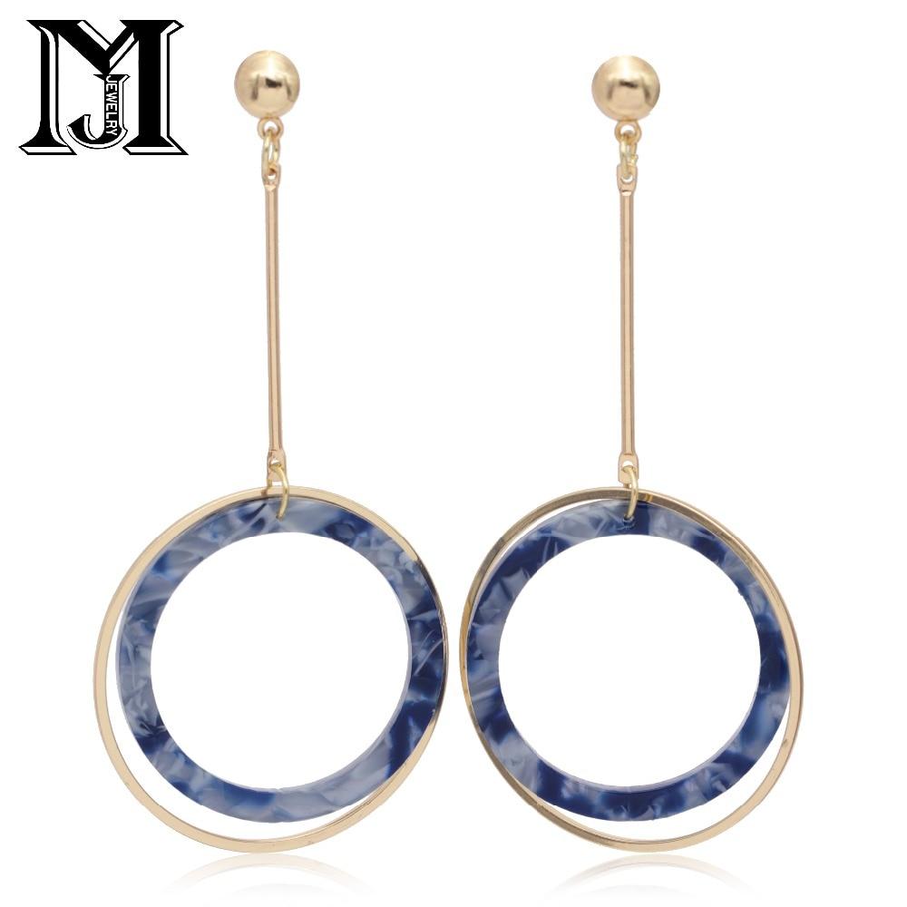 JiaMu Fashion Popular delicate stud long Acrylic natural zircon tassel earrings for women party wedding by hand make jewellery