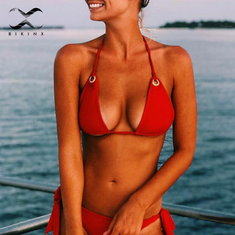 Halter red two-piece suit ring micro bikini set 2018 Push up swimwear female solid thong women swimsuit Sexy tie up bathing suit solid gray blue sexy push up bikini set strappy thong women swimsuit low waist female swimwear 2017 beachwear halter bikinis