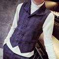 mens plaid formal vest male 2017 fashion brief plaid slim vintage work vest men retro finishing all-match vest